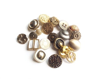 20 Gold & Silver Metal Buttons, Assorted Metal Buttons, Couture, Woman Fashion