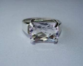 Light Lavender Pink Kunzite In Sterling Silver Ring, 4.04ct. Size 6.75