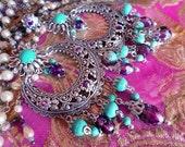 Large Exotic Moroccan Moon Earrings, Turquoise Bohemian Gypsy Chandelier Earrings, Purple Crystal, Silver, Gold, Bronze, Green Verdigris