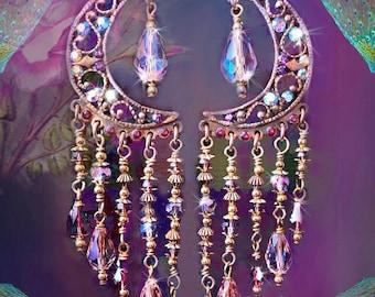 "Sparkly Pink Crystal Celestial Chandelier Earrings, Arabian Nights Fantasy Purple & Blue Long Moroccan Bohemian, Swarovski!, 3"" or 5"" Long"