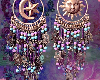 Celestial Turquoise and Purple Long Dangly Beaded Earrings, Sun and Moon Bohemian Chandelier Earrings, Hippie Earrings, Purple Gypsy Moons