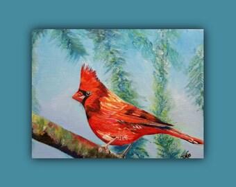 Original Oil, MR. CARDINAL 2, Original Oil Painting, Bird, red, tree, Bright, signed by the artist