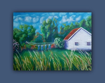 OriginalPaintingLandscape  4 JEANS  OilPaintingCanvas, clothesline, grass, house, landscape, trees, flowers, laundry , signed by the artist