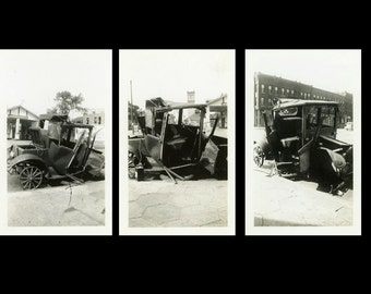"3 pc - Vintage Photo ""After the Accident"" Car Wreck Snapshot Antique Photo Black & White Photograph Found Paper Ephemera Vernacular - 151"