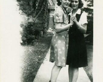 "Vintage Photo ""Sidewalk Dancers"" Snapshot Antique Photo Old Black & White Photograph Found Paper Ephemera Vernacular - 127"