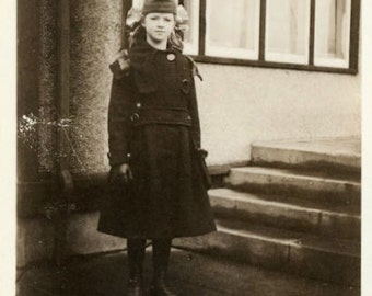 "Vintage Photo ""Annabelle"" Girl Wearing Coat Outfit Snapshot Old Antique Photo Black & White Photograph Found Paper Ephemera Vernacular - 145"