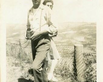 "Vintage Photo ""Landscape Photographer"" Man Camera Snapshot Old Antique Photo Black & White Photograph Found Paper Ephemera Vernacular - 46"