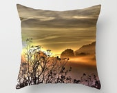 Morning Sunrise Pillow Cover, Orange, Sunrise Decor, Silhouette, Clouds