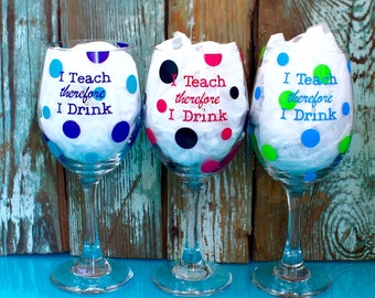 3 Teacher Wine Glasses, personalized, gift idea, appreciation