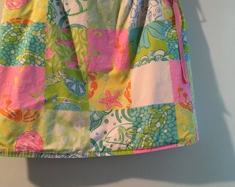 Vintage Lilly Pulitzer Wrap Skirt Faux Patchwork 1980's Beach Resortwear Size 4