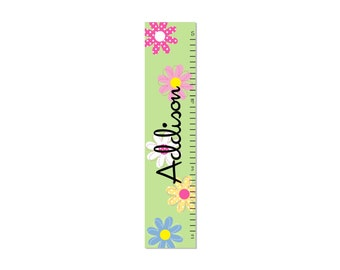 Daisy Garden Growth Chart Personalized Children Canvas  Kids