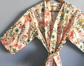 Maternity Kimono Robe. Kimono. Hospital Gown. Hospital Robe. Wild Pink Posies. Knee or Mid Calf Length. Small thru Plus Size 2XL.