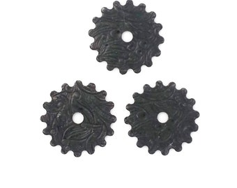Steampunk FILIGREE FLORAL Cog Gears in Black Brass 16mm Qty 3 Lot Assemblage Altered Art Made in the Usa