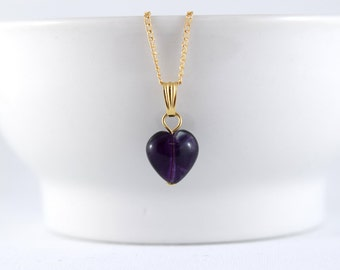 Heart necklace - Dark purple Fluorite - Beautiful gemstone heart, Gold-filled chain - Healing stone - Free shipping to Canada & USA
