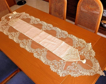 Lace table runner opulent linen with luxurious ecru French lace beige sage shabby chic decor victorian dinning table overlay home decoration