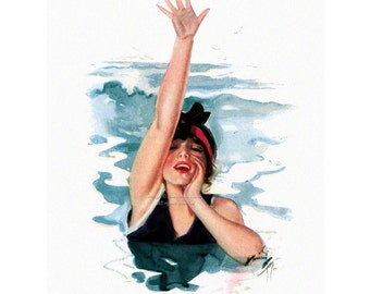 Woman Swimmer Print - Neptunes Daughter - Girl Calls to Friends on Beach - Repro Harrison Fisher