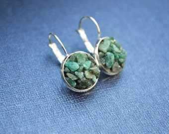 Green Aventurine  Earrings, Gemstone Drop Earrings, Green Stone Earrings