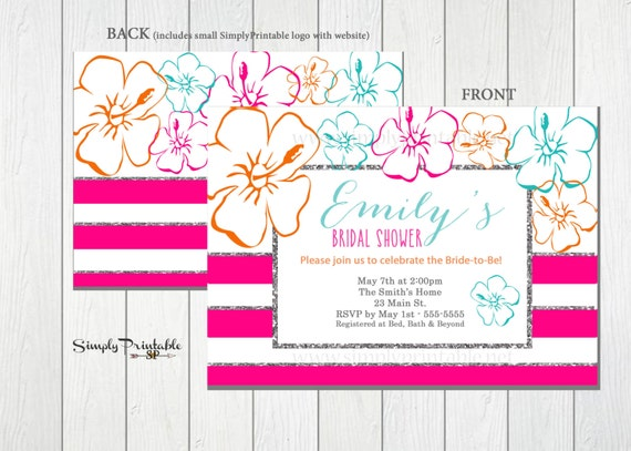 Tropical Bridal Shower Invitation, Hawaiian Wedding Shower Invite, Beach Bridal Invitation, Hibiscus Flower, Summer Bridal Invitation