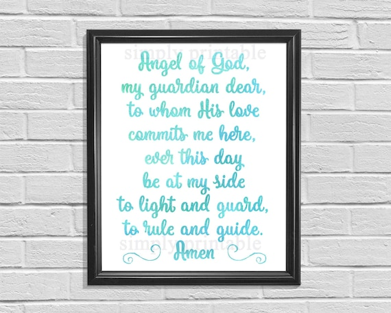 Nursery Prayer Wall Print, Digital Instant Download, Angel of God, My Guardian Dear, Nursery Decor, Watercolor