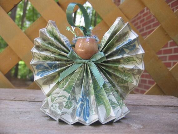 Floral Angel Tree Ornament, Paper Angel, Christmas Ornament, Christmas Decor, Gardener Gift, Ivy Angel, Blue Green Angel SnowNoseCrafts