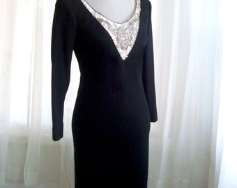 Exquisitely Beaded Mr. Blackwell Cocktail Dress,  1960's Designer Black Wool Evening Dress,  Size Small