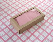 10 Small Kraft Boxes with Rectangle Window 4 1/4 x 2 1/4 x 1 inches - Double Macaron Box, Wedding Favor Boxes
