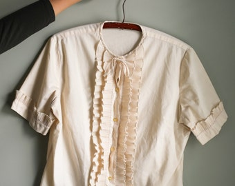 Vintage Cotton Cropped Edwardian Ruffle Button Up Short Sleeve Shirt - Size S / M