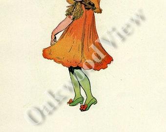 ON SALE Flower Children California Poppy & Cornflower 2-Sided Book Plate Print by Elizabeth Gordon, Vintage 6x9in Frameable Art c1910, FREE
