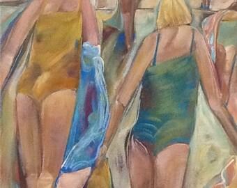 Beach  Original acrylic painting 24x18 Free Shipping