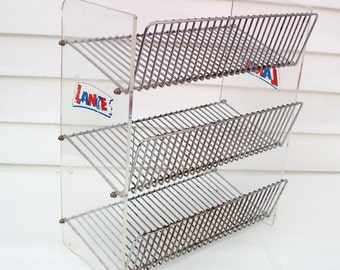 Vintage  3 Tier Stand / Metal Shelf Storage Rack / Lance Store Counter Display / Industrial Shelving