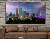 Dallas Skyline Canvas Set, Large Wall art of Dallas Print, Dallas Canvas, Dallas Art, Dallas Photo, Dallas Wall Art, Dallas Photo Night
