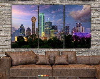 Dallas Skyline Canvas Set, Large Wall art of Dallas Print, Dallas Canvas, Dallas Art, Dallas Photo, Dallas Wall Art, Dallas Photo Night