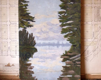 Vintage Original Oil Painting - Window on to the Lake - Trees, Clouds and Water