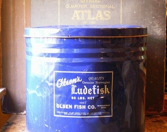 Vintage Large General Store Blue and White Ludefisk Tin - Great Kitchen Decor!