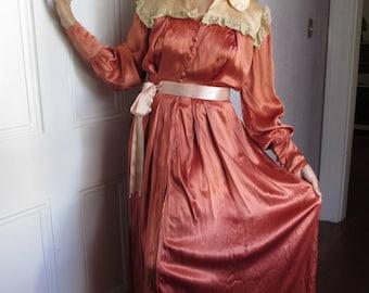 40's VTG Satin Glamour Dressing Gown Dusty Rose  sm/med