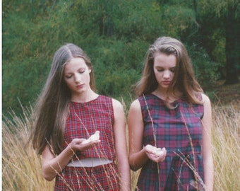 Checked Tartan Smock Dress Autumn Pinafore Kee Boutique Handmade Vintage inspired Boho, Indie, Winter. Plaid, 60s