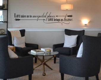 Life takes us to unexpected places love brings us home decal wall sticker SS153