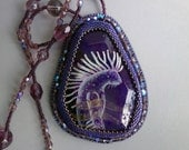 """FREE SHIPPING hand painted pendant """" Forest spirit """""""