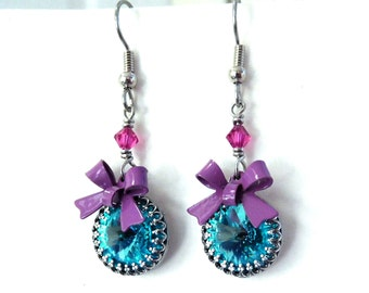 Aqua rhinestone bow earrings, mauve enamel bow, all Austrian crystal antiqued silver bezel set stones, aqua purple fuchsia crystal jewelry