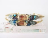 Raw Crystal  Bracelet - Gift for Her - Quartz - Raw Neon Blue Apatite - Turquoise - Chalcopyrite - Bohemian Wedding