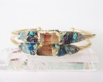 Raw Crystal  Bracelet - Gift for Her - Quartz - Raw Neon Blue Apatite - Turquoise - Chalcopyrite - Bohemian Wedding
