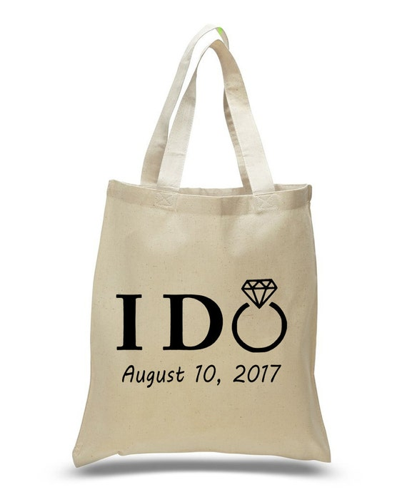 I Do With Ring Cotton Canvas Tote Bag Wedding Party Bags