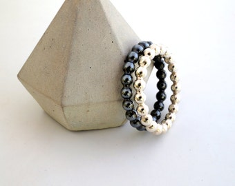 giant silver stacking rings // 3 mm beaded wire ring // gifts for her // giant stacking ring