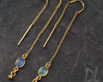 Opal Earrings - Ear Thread Earrings - Ear Threader Earrings - Minimal earrings - Long Thin modern earrings
