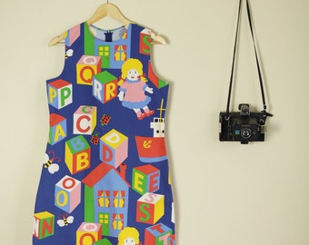 xRainbow Building Blocks 60s Print Dress Made from Vintage Fabric Sleeveless Shift