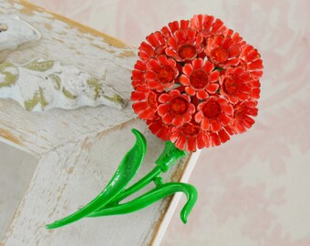 Vintage Red Rhinestone Enamel Flower Brooch