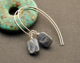 Blue Kyanite Hoop Earrings, Modern Silver Wire Earrings, Square Blue Stone Earrings, Single Bead Dangle Earrings