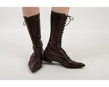 FLUEVOGS / Vintage leather winklepickers / Witchy pointed toe lace up boots 6