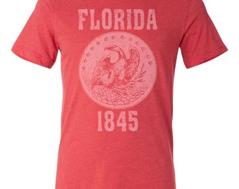 Florida State Seal T-Shirt. Vintage Style Soft Retro Florida Shirt Unisex Men's Slim Fit and Women's Tee