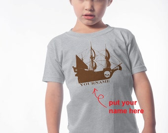 Back to School - Pirate Ship T-Shirt for Infants, Kids and Adults - Pirate Themed Birthday - Vintage Feel Pirate Ship Shirt - Pirate Party